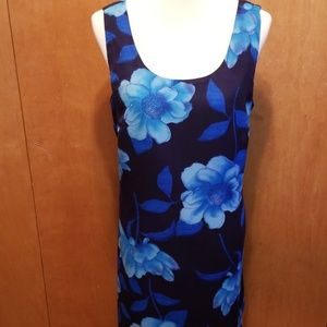 S.L. Fashions Size 16 Blue Floral Dress